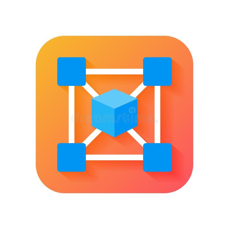 Icône de chaîne de bloc, icône de cryptocurrency Icône moderne dans le style plat sur le fond de gradient Icône de vecteur pour t illustration de vecteur