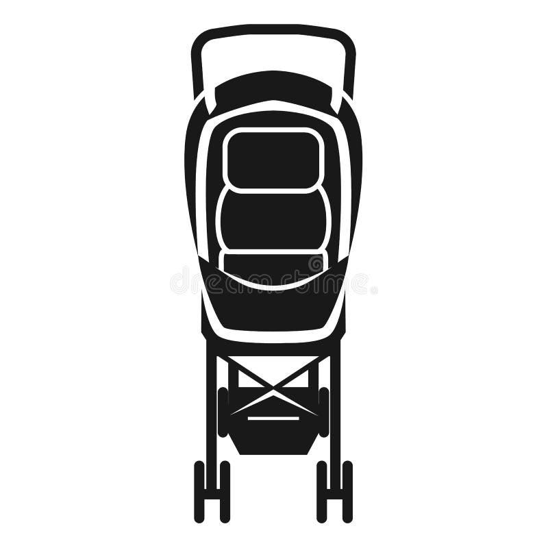Icône de chaise de poussette de bébé, style simple illustration stock