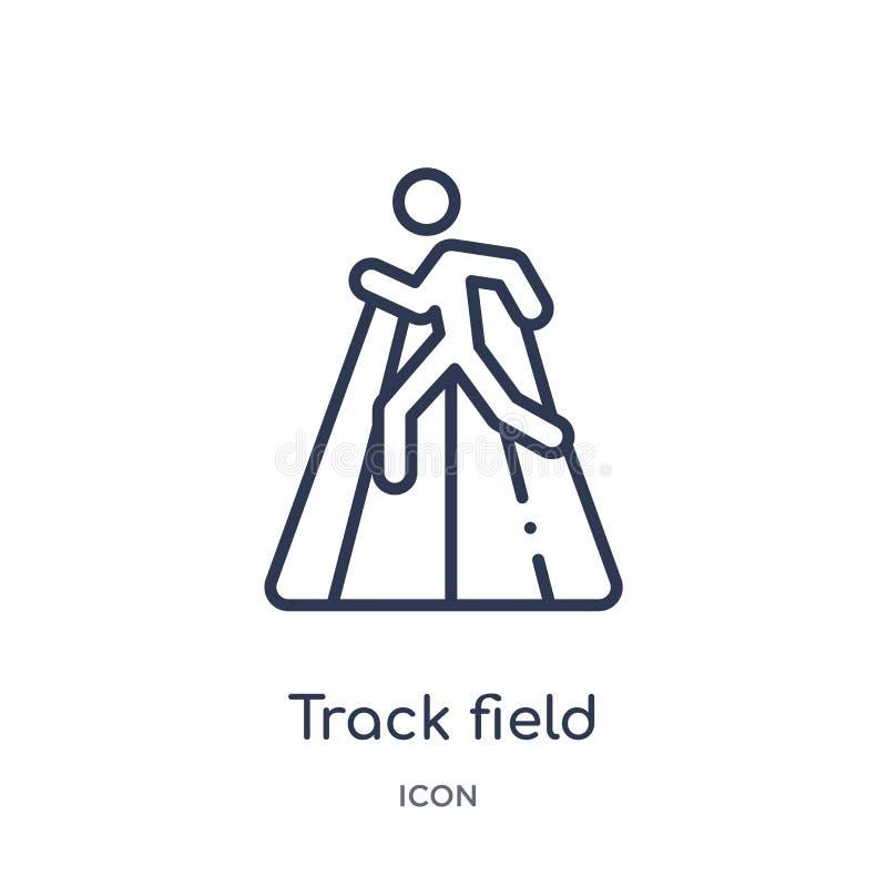 Icône de champ de voie de collection d'ensemble de Jeux Olympiques Ligne mince icône de champ de voie d'isolement sur le fond b illustration de vecteur