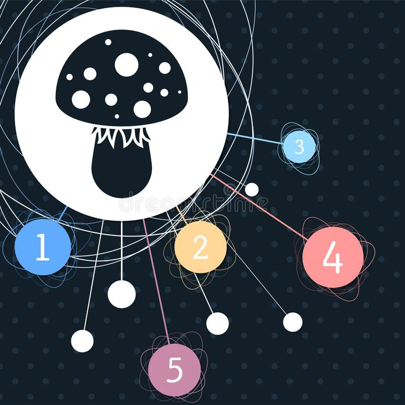 Icône de champignon d'agaric de mouche avec le fond au point et au style infographic illustration libre de droits