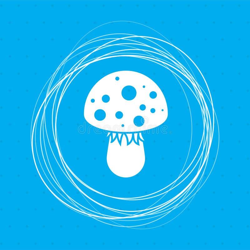 Icône de champignon d'agaric de mouche sur un fond bleu avec les cercles abstraits autour de et l'endroit pour votre texte illustration de vecteur