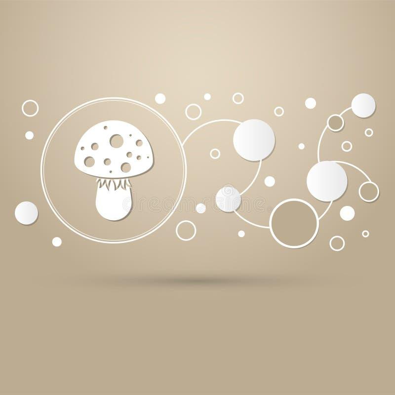 Icône de champignon d'agaric de mouche sur un fond brun avec le style élégant et la conception moderne infographic illustration stock