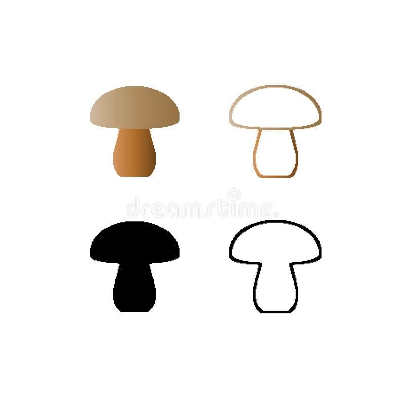 Icône de champignons, logos dans le style d'art de pixel - collection illustration libre de droits