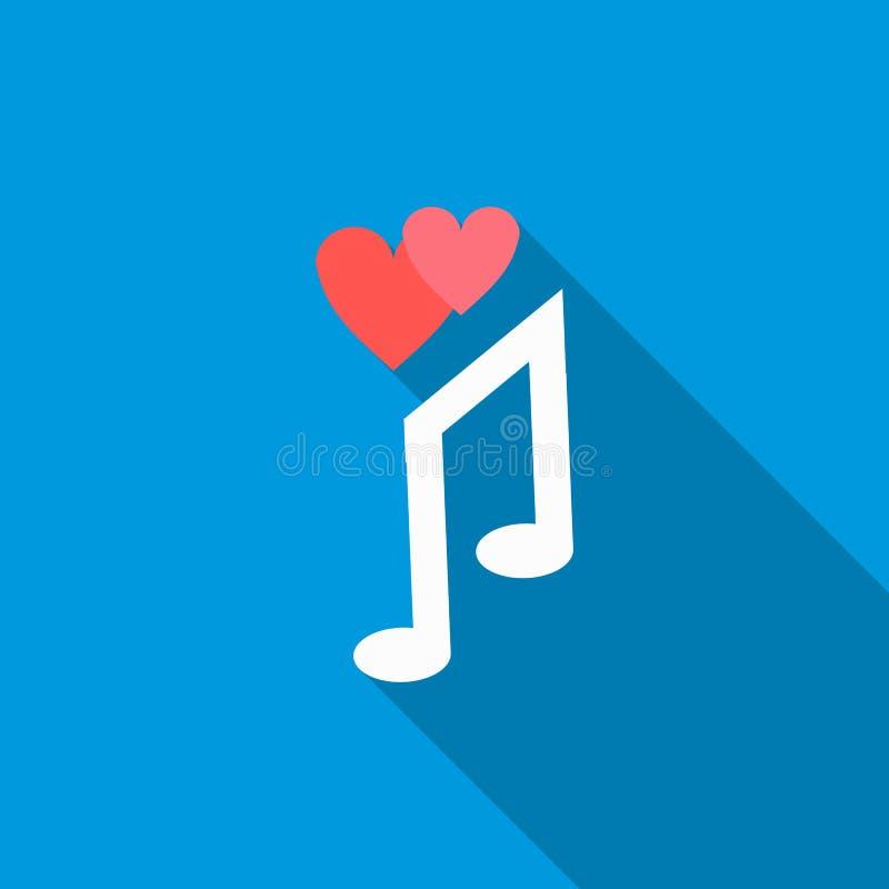 Icône de chanson d'amour, style plat illustration libre de droits