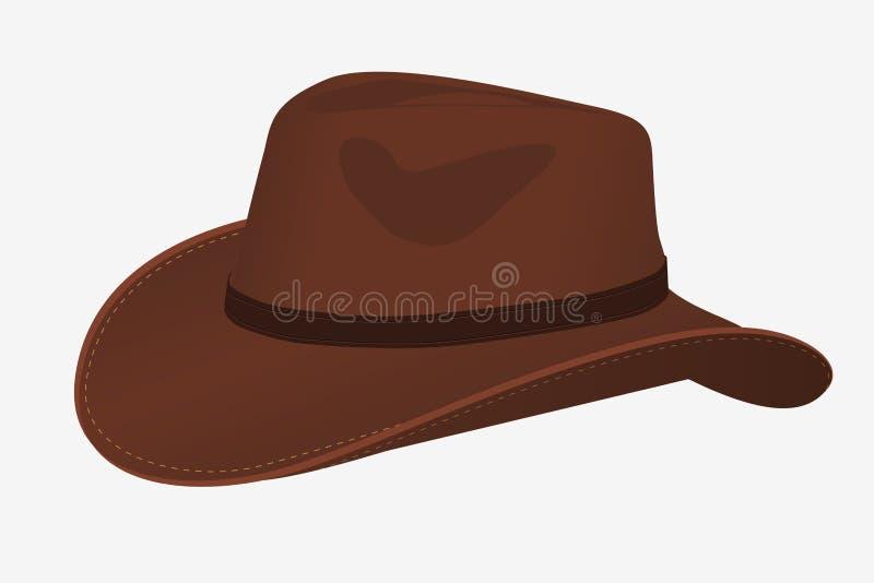 Icône de chapeau de cowboy objet d'isolement par vecteur Vue de côté illustration stock