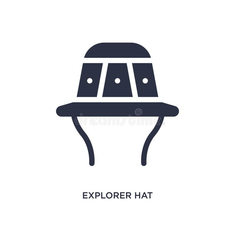 icône de chapeau d'explorateur sur le fond blanc Illustration simple d'élément de concept campant illustration de vecteur