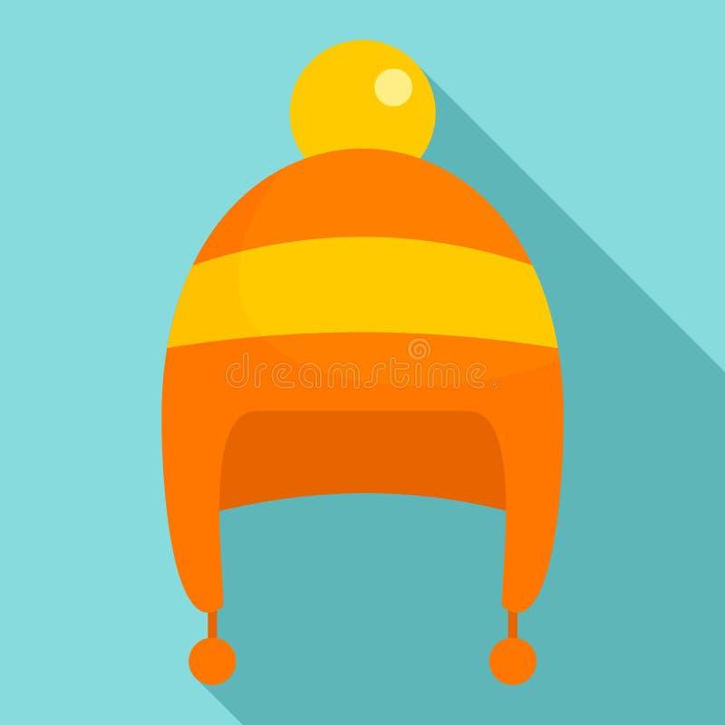 Icône de chapeau d'hiver de garçon, style plat illustration stock