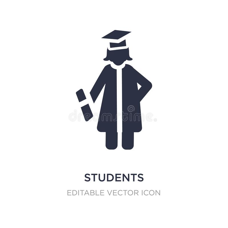 icône de chapeau d'obtention du diplôme d'étudiants sur le fond blanc Illustration simple d'élément de concept de personnes illustration stock