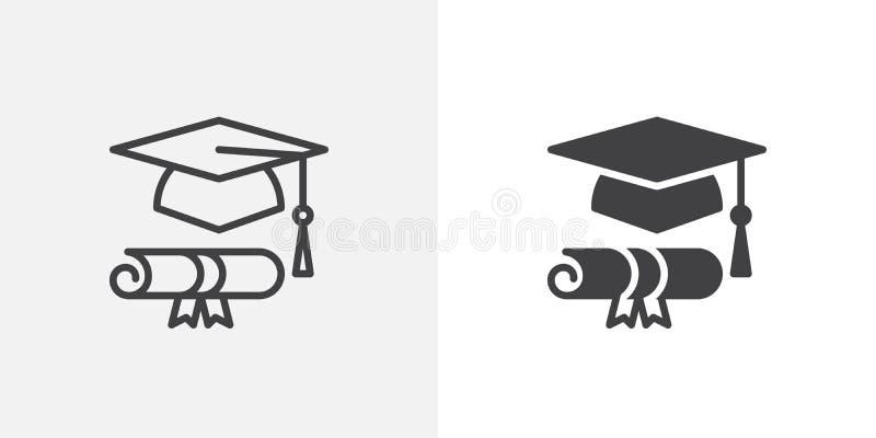 Icône de chapeau et de diplôme d'obtention du diplôme illustration libre de droits