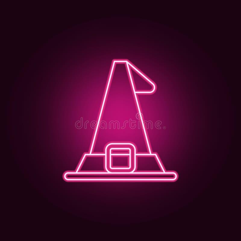 Icône de chapeau de Halloween Éléments de Halloween dans les icônes au néon de style E illustration stock