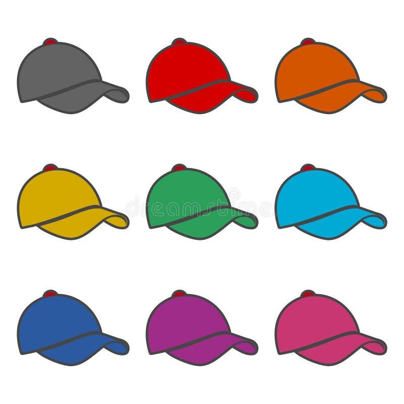 Icône de chapeau ou logo, icône de chapeau de base-ball, ensemble de couleur illustration libre de droits