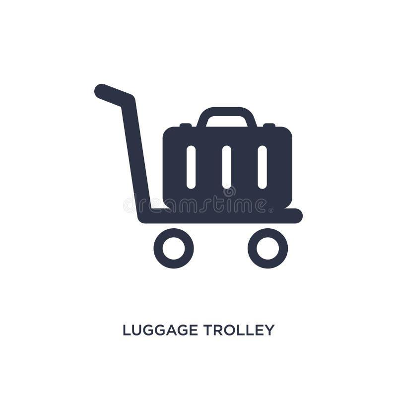 icône de chariot à bagage sur le fond blanc Illustration simple d'élément de concept de terminal d'aéroport illustration libre de droits