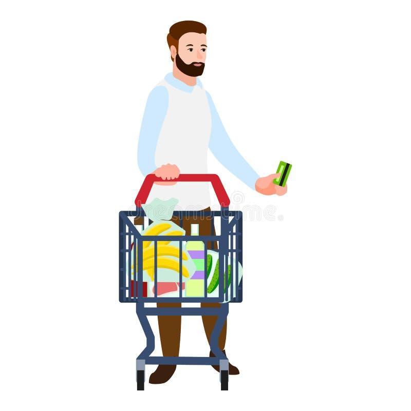 Icône de chariot d'argent liquide d'acheteur, style plat illustration stock