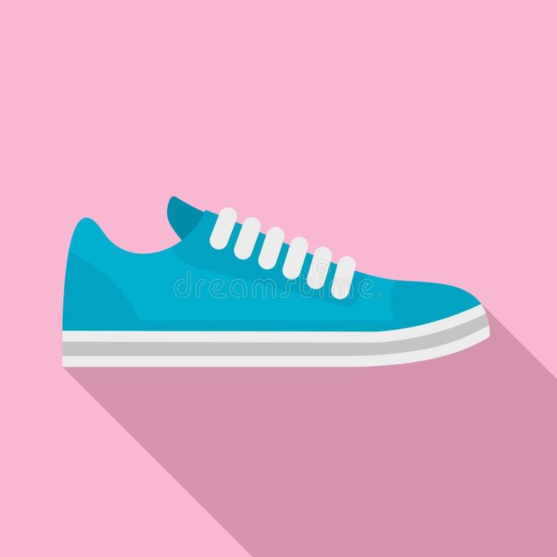 Icône de chaussures de vélo, style plat illustration stock