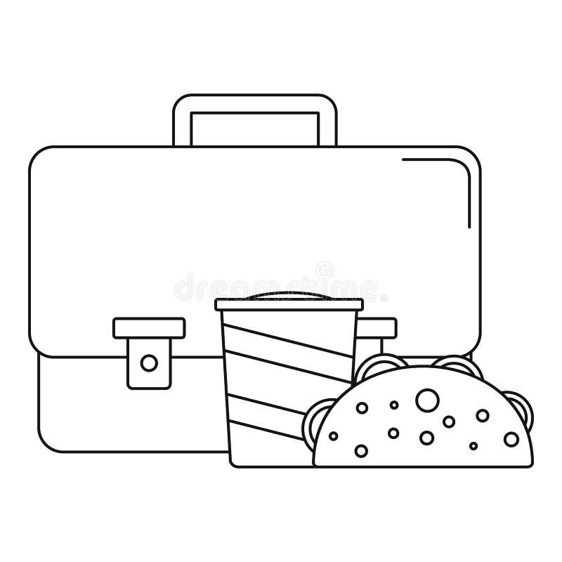 Icône de cheesburger de kola de sac, style d'ensemble illustration libre de droits