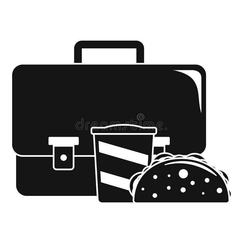 Icône de cheesburger de kola de sac, style simple illustration stock