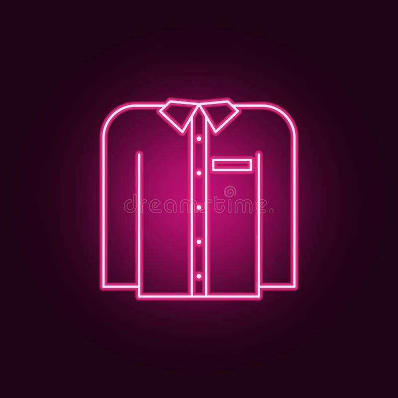 icône de chemise de femmes Éléments des vêtements dans les icônes au néon de style E illustration stock