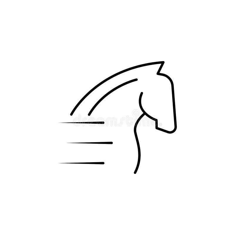 icône de cheval de vitesse Élément de vitesse pour l'illustration mobile d'applis de concept et de Web Ligne mince icône pour la  illustration libre de droits