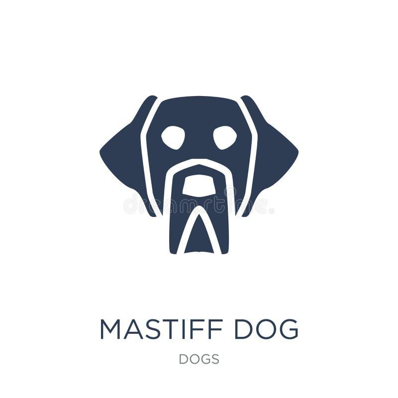 Icône de chien de mastiff Icône plate à la mode de chien de mastiff de vecteur sur b blanc illustration stock