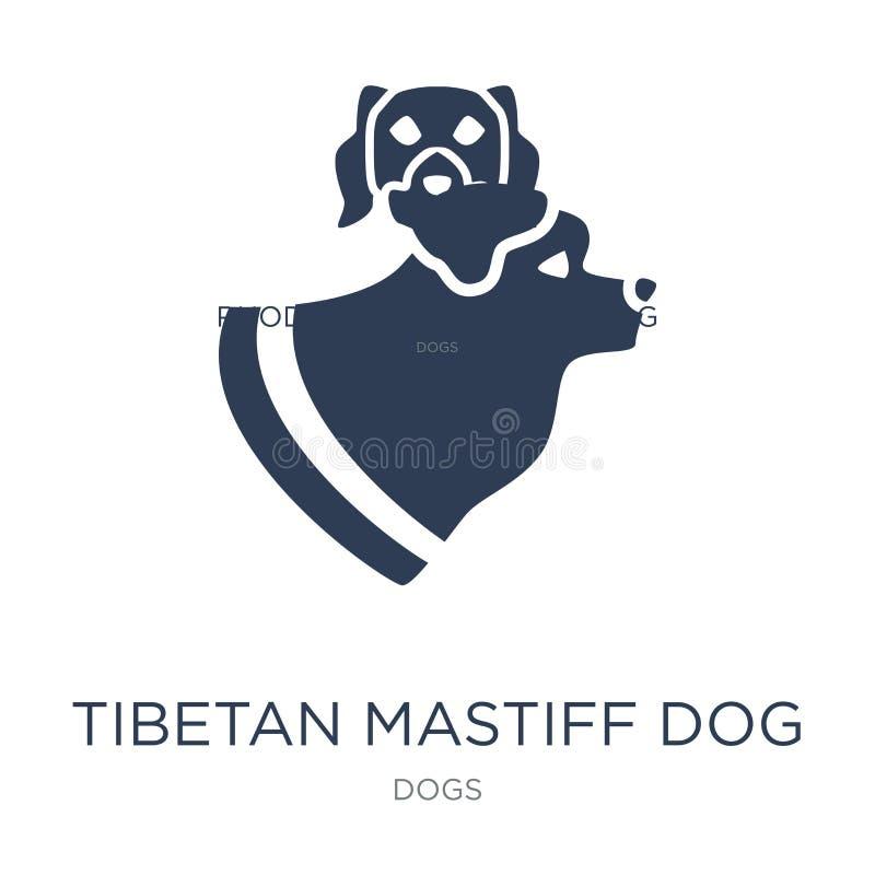 Icône de chien de mastiff tibétain Chien plat à la mode de mastiff tibétain de vecteur illustration libre de droits