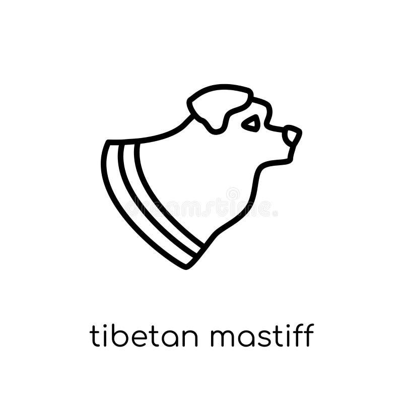 Icône de chien de mastiff tibétain Vecteur linéaire plat moderne à la mode Thibet illustration libre de droits