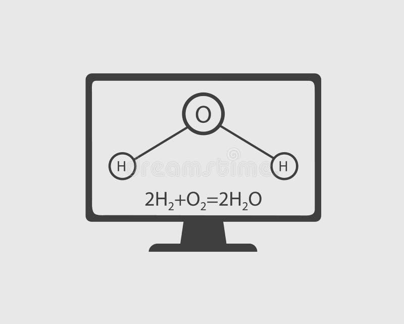 Icône de chimie Équation générale et équation structurelle de l'eau avec l'écran d'ordinateur illustration de vecteur