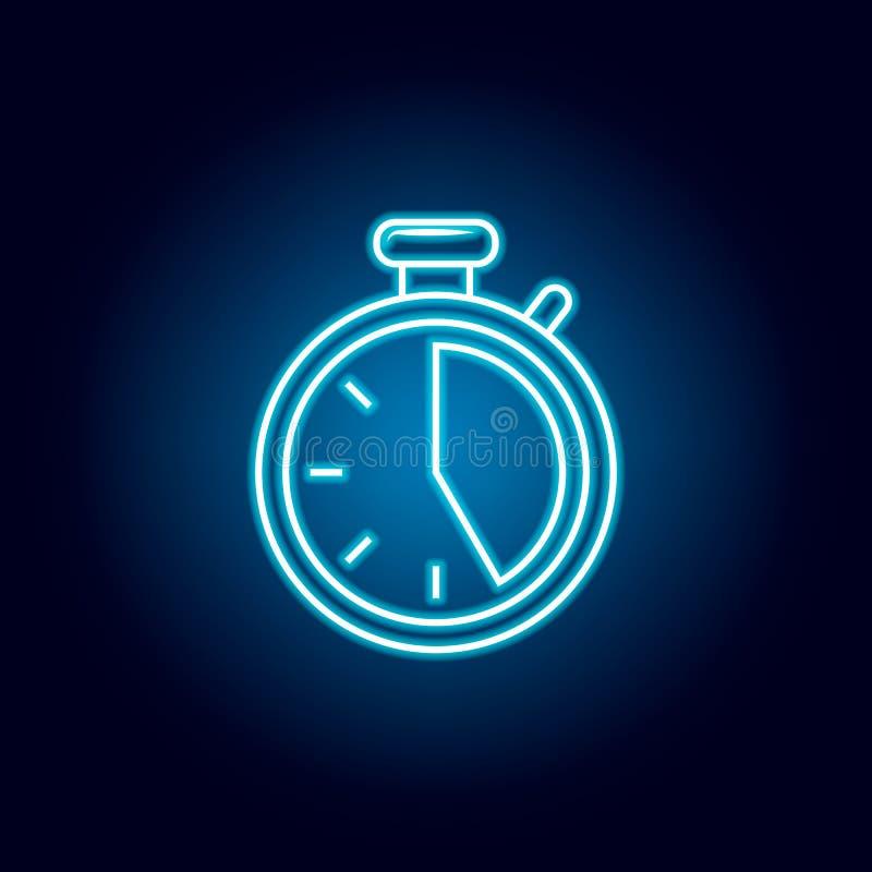 icône de chronomètre dans le style au néon bleu ?l?ment de l'emballage pour le concept et l'ic?ne mobiles d'apps de Web Ligne min illustration de vecteur
