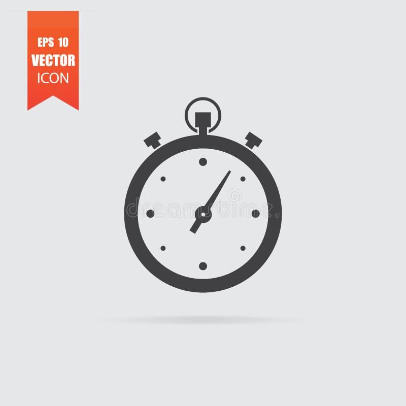 Icône de chronomètre dans le style plat d'isolement sur le fond gris illustration de vecteur