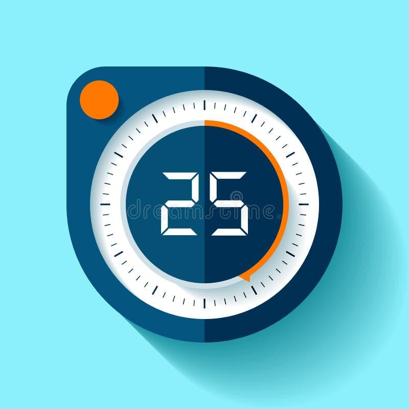 Icône de chronomètre dans le style plat, minuterie ronde sur le fond de couleur Horloge de sport 25 secondes Élément de conceptio illustration libre de droits