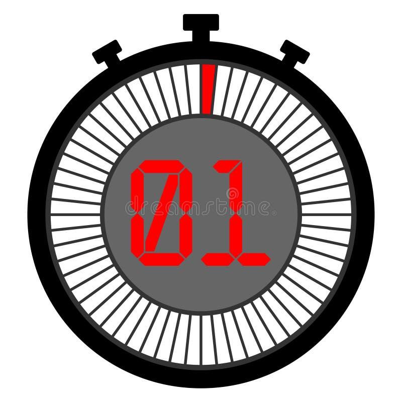 Icône de chronomètre 1 secondes Rouge graphisme illustration stock