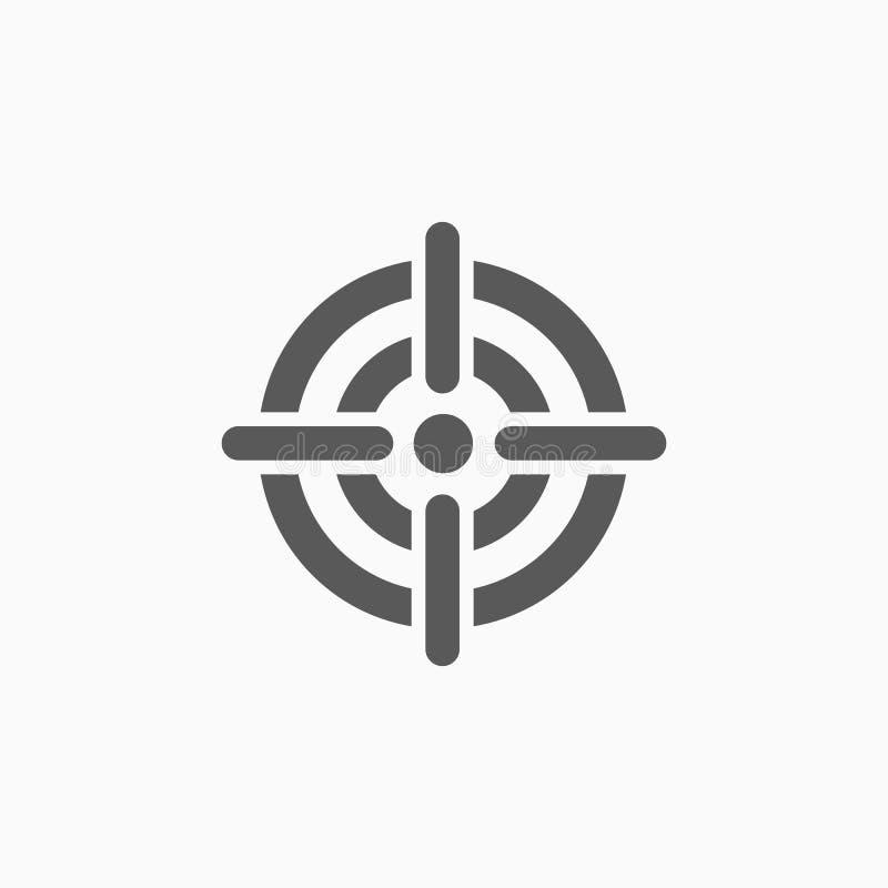 Icône de cible, but, fourche, but, objectif, marque illustration de vecteur