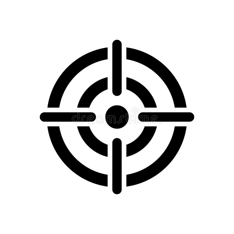 Icône de cible, réticule au centre de la cible illustration de vecteur