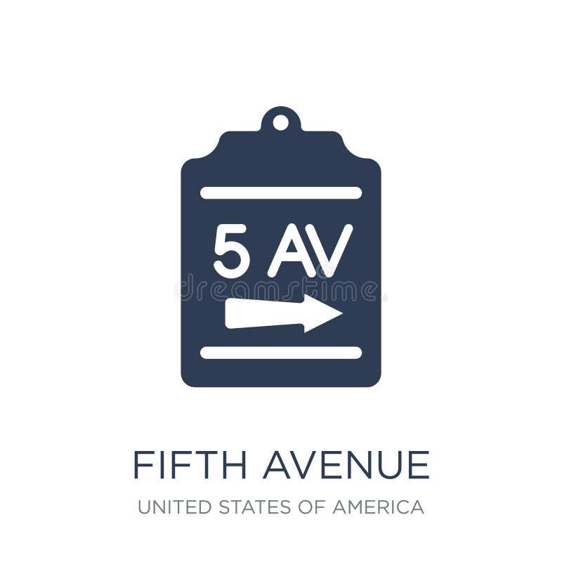 Icône de Cinquième Avenue Icône plate à la mode de Cinquième Avenue de vecteur sur le blanc illustration de vecteur