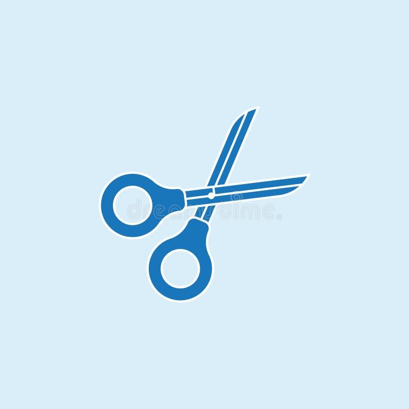 Icône de ciseaux dans le style plat d'isolement sur le fond bleu Symbole de ciseaux pour votre conception et logo Écran protecteu illustration de vecteur