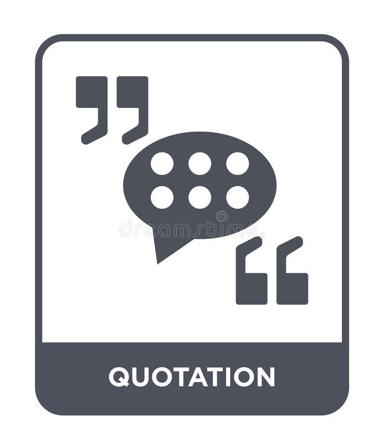 icône de citation dans le style à la mode de conception icône de citation d'isolement sur le fond blanc appartement simple et mod illustration de vecteur