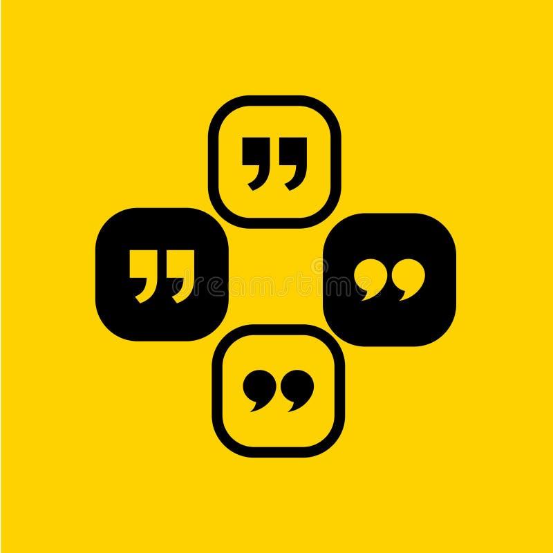 Icône de citation Symbole de paragraphe de citation double marque de virgule signe de la parole de dialogue de bulle Illustration illustration de vecteur