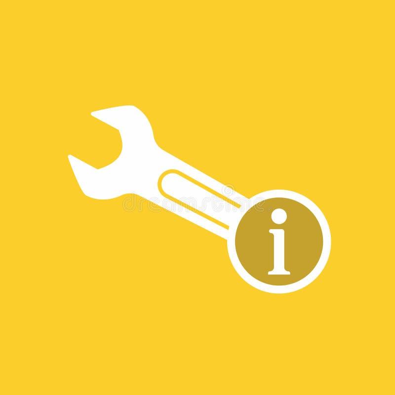 Icône de clé avec le signe de l'information Icône de clé et environ, FAQ, aide, symbole de signe illustration libre de droits