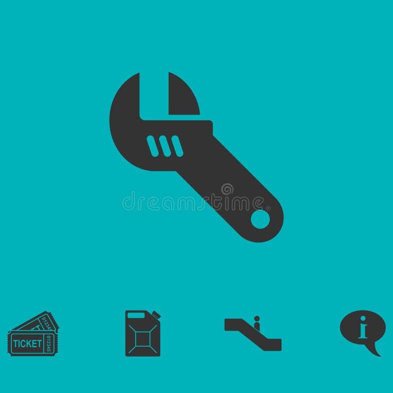 Icône de clé réglable à plat illustration stock