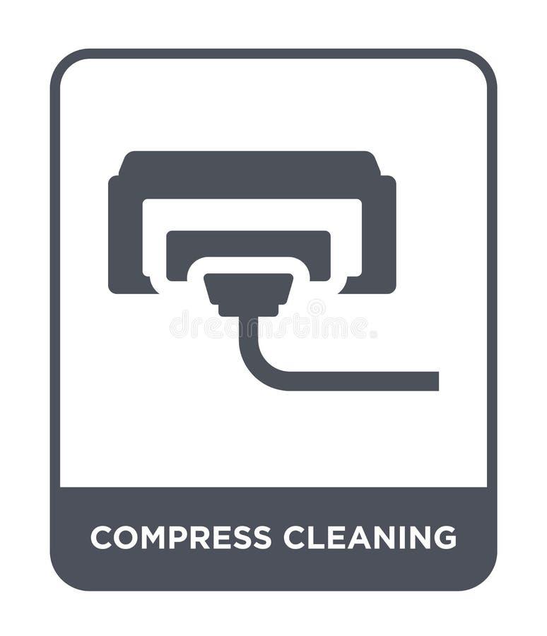 icône de cleanin de compresse dans le style à la mode de conception icône de cleanin de compresse d'isolement sur le fond blanc l illustration libre de droits