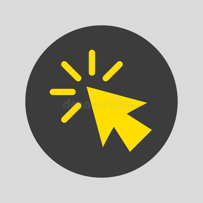 Icône de clic sur le fond gris illustration de vecteur