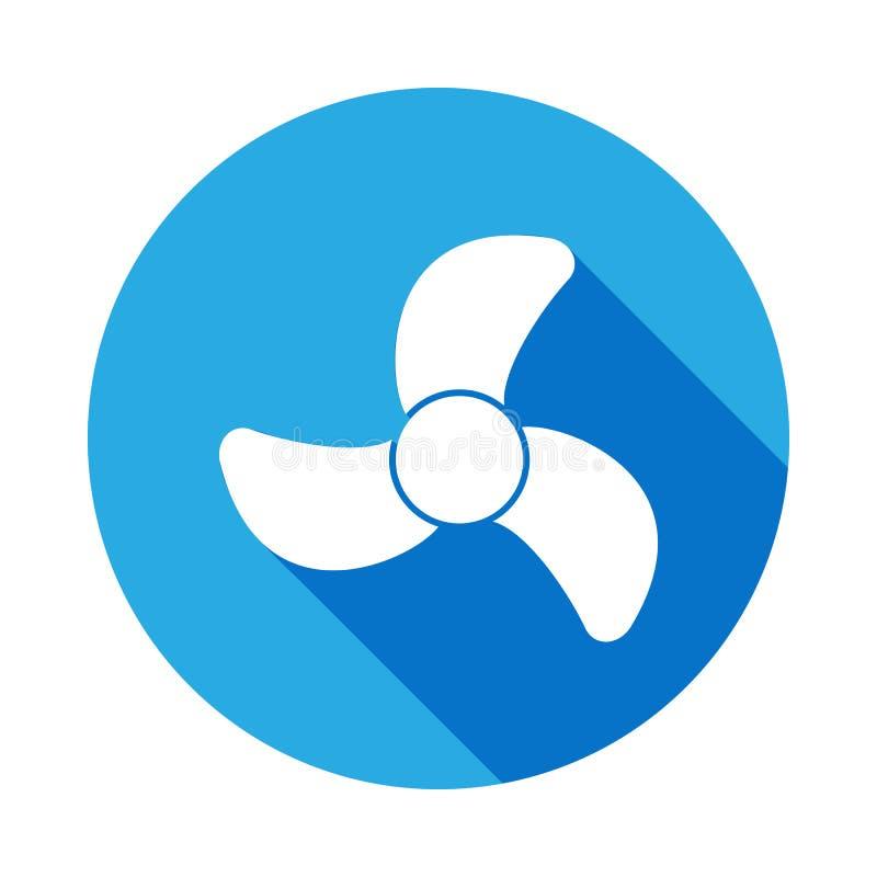 Icône de climatisation avec la longue ombre Élément d'illustration de services des réparations de voiture Signes et icône de symb illustration stock