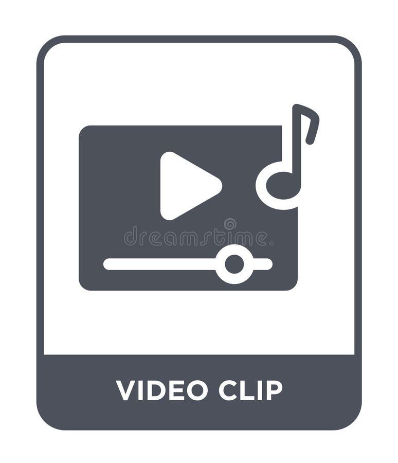 icône de clip vidéo dans le style à la mode de conception icône de clip vidéo d'isolement sur le fond blanc icône de vecteur de c illustration libre de droits