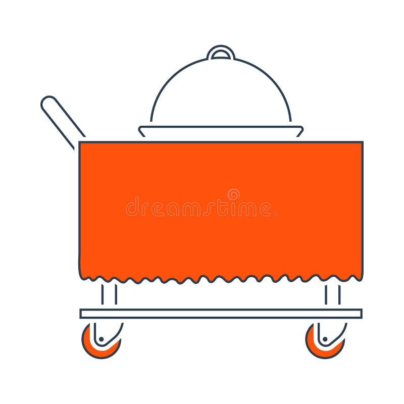 Ic?ne de cloche de restaurant sur livrer le chariot illustration stock