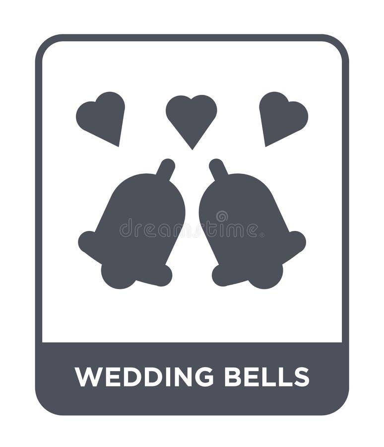 icône de cloches de mariage dans le style à la mode de conception icône de cloches les épousant d'isolement sur le fond blanc les illustration stock
