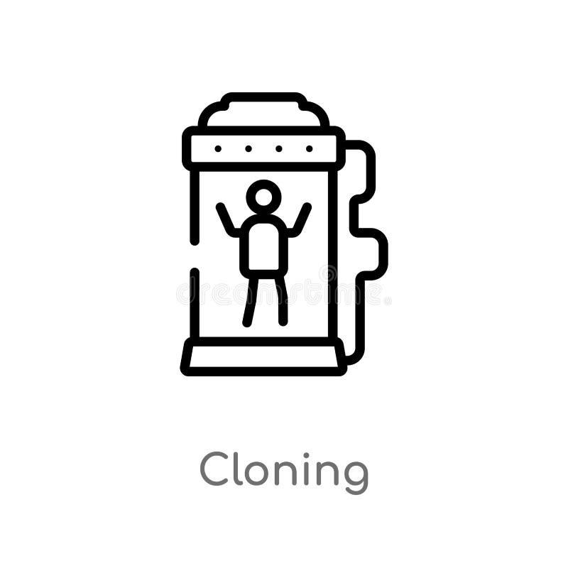 icône de clonage de vecteur d'ensemble ligne simple noire d'isolement illustration d'?l?ment du futur concept de technologie Vect illustration de vecteur