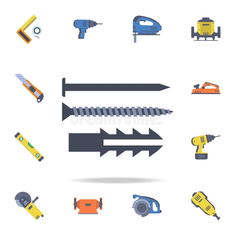 icône de clous de couleur Ensemble détaillé d'outils de construction de couleur Conception graphique de la meilleure qualité Une  illustration stock