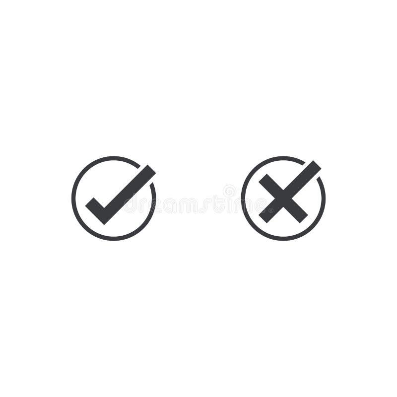 Icône de coche Approuvez et décommandez le symbole pour le projet de conception Bouton plat oui et non Bon et mauvais Appove et b illustration libre de droits