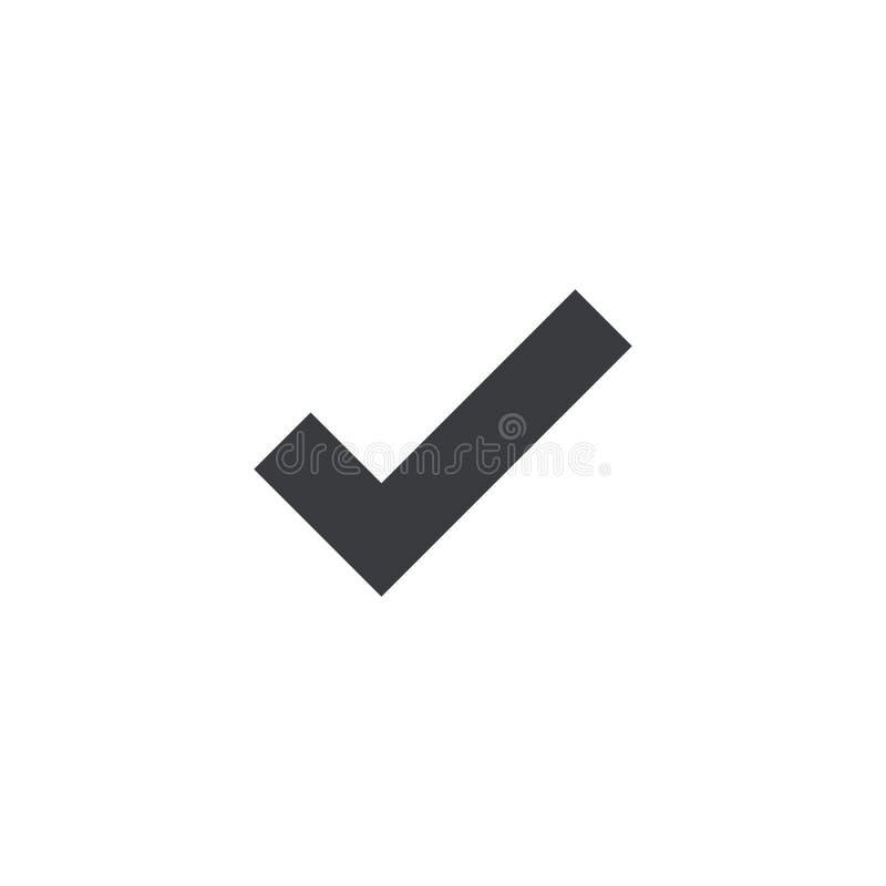 Icône de coche de vecteur Reconnaissez le symbole Forme de coche Carte d'interface d'appli de logo d'élément de conception ou sit illustration stock