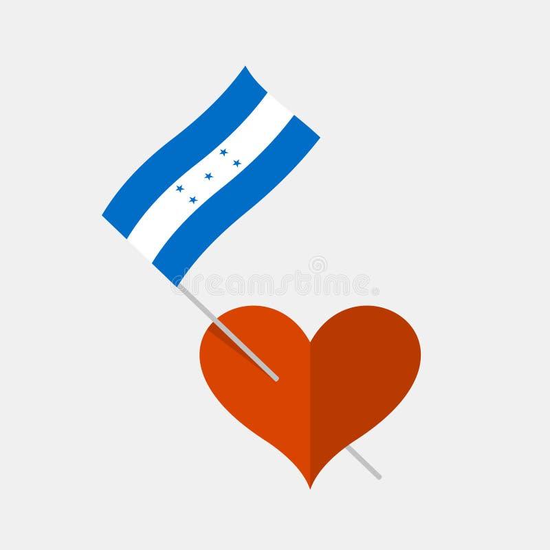 Icône de coeur avec le drapeau hondurien illustration stock