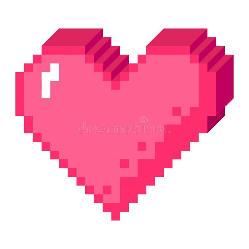icône de coeur du pixel 3D illustration stock
